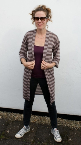 Striped Hacci Kimono - self-drafted