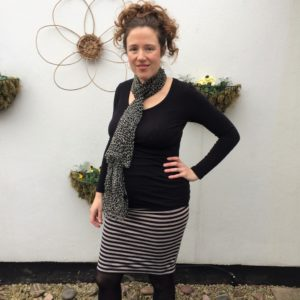 Erin Maternity Skirt in stripes - Megan Nielsen Patterns