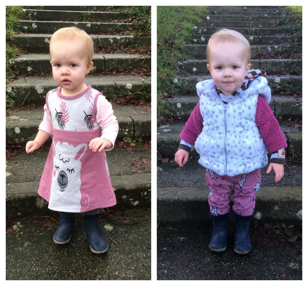 Llama panel jersey toddler dress and joggers
