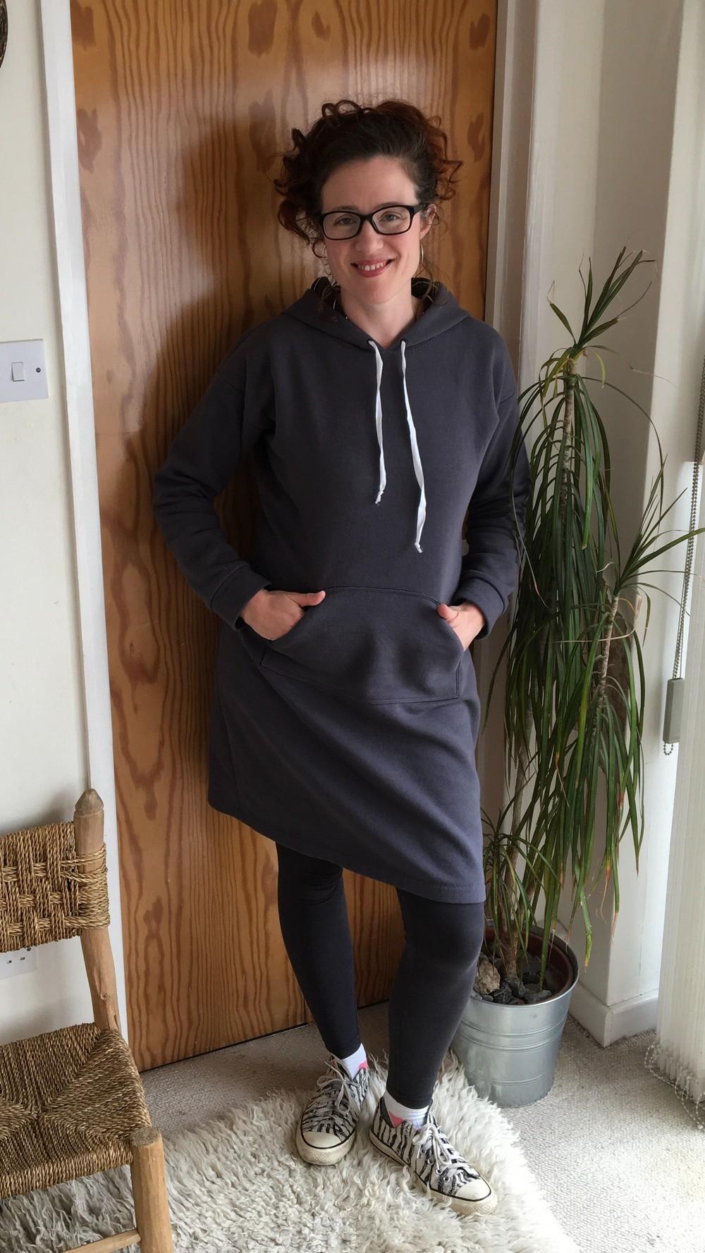 Stella Hoodie Dress in grey sweatshirting